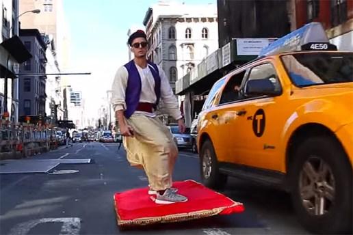 Aladdin Flies Through the Streets of NYC