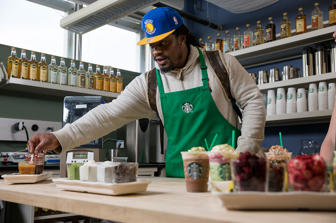 "Marshawn Lynch and Starbucks Introduce the ""Beast Mode"" Frappuccino"