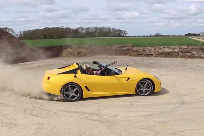 Clay Pigeon Shooting While Donuting a Ferrari 599 SA Aperta