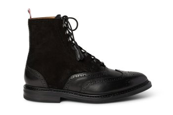 Thom Browne Suede and Leather Ghillie Brogue Boots
