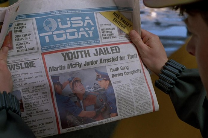 """'USA Today' Celebrates """"Back to the Future Day"""" With the Film's Front Page"""