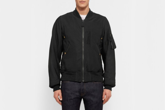 visvim Thorson Flag-Panelled Washed Satin-Twill Bomber Jacket