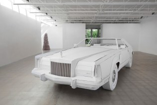 """Miles to Empty"" Exhibition Showcases a Cardboard-Made Lincoln Continental"
