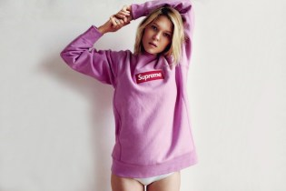 Bond Girl Léa Seydoux in Supreme Box Logo Crewneck