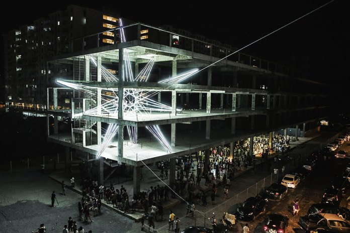 Five-Storey LED Star Installation by Jun Ong