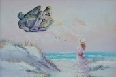 This Artist Adds Pop Culture Icons Into Thrift Store Paintings