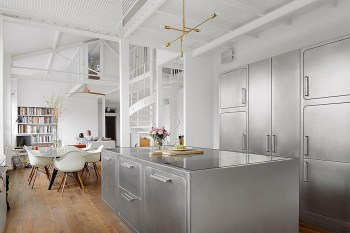 This Parisian Apartment Has a Stunning All-Stainless Steel Kitchen