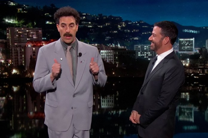 Borat Surprises Jimmy Kimmel With Trailer for 'The Brothers Grimsby'