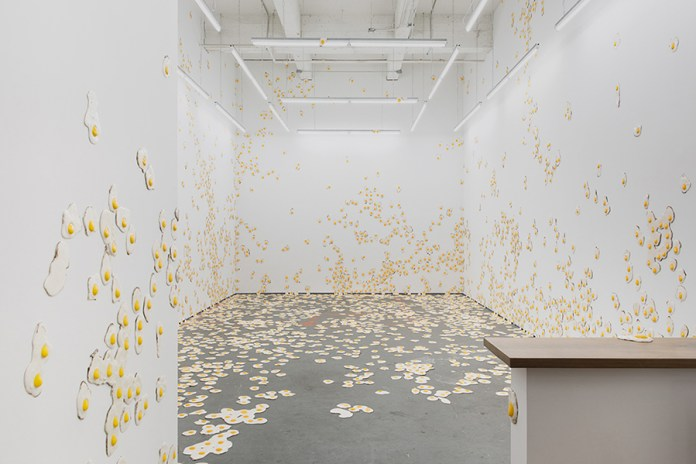 Christopher Chiappa Fills the Kate Werble Gallery Qith 7,000 Fried Eggs