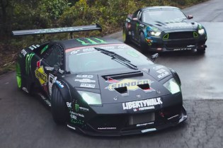 Watch a Lamborghini and Mustang Have a Drift Battle in the Mountains of Japan