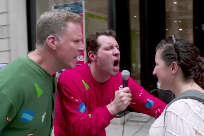 Watch Will Ferrell and 'Billy on the Street' Yell Christmas Obscenities at New Yorkers