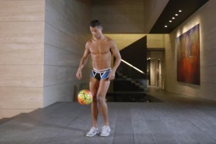 Cristiano Ronaldo Shows off Soccer Skills Whilst Wearing Just His Underwear