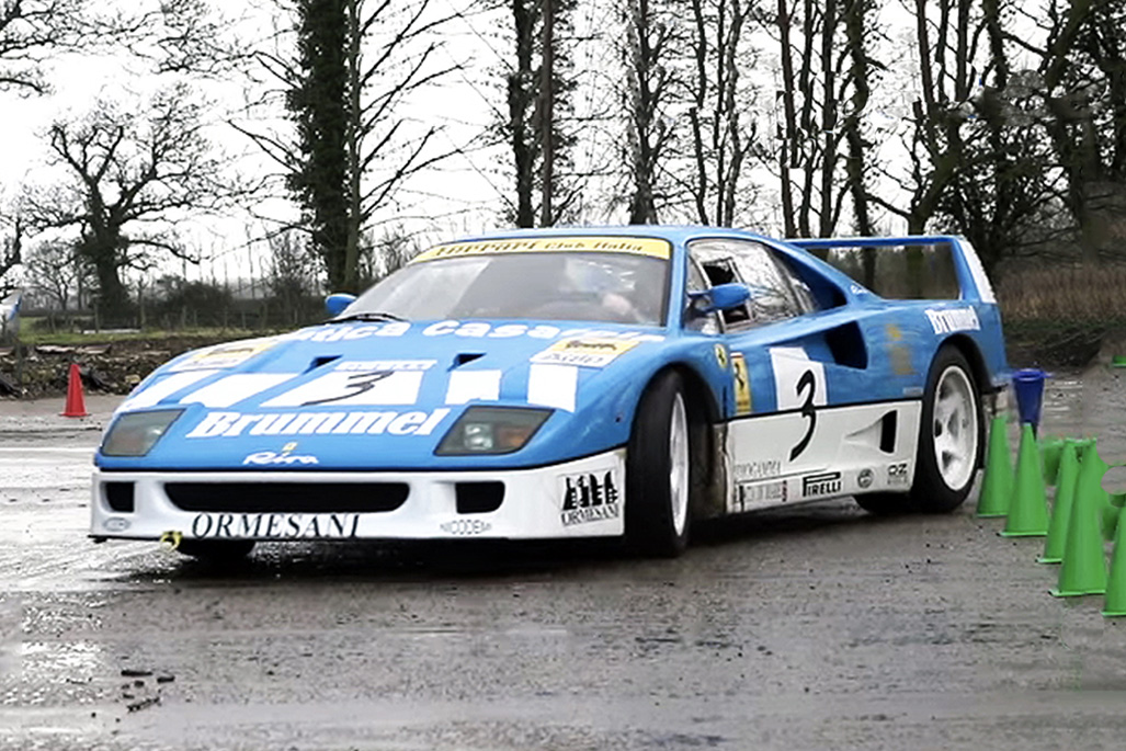 Watch a Rare Ferrari F40 GT Drift Through a Farm