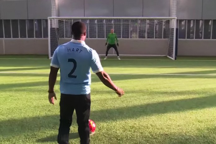 Kevin Hart Goes Head to Head With Manchester City's Joe Hart in a Penalty Shoot-Out