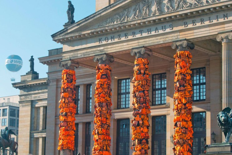 Ai Weiwei Ties 14,000 Refugee Life Jackets Onto Berlin Concert Hall