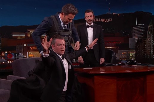Hug It Out: Ben Affleck Smuggles BFF Matt Damon Onto 'Jimmy Kimmel Live!'