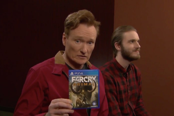 """Clueless Gamer"" Conan O'Brien Tests out 'Far Cry Primal' With PewDiePie"