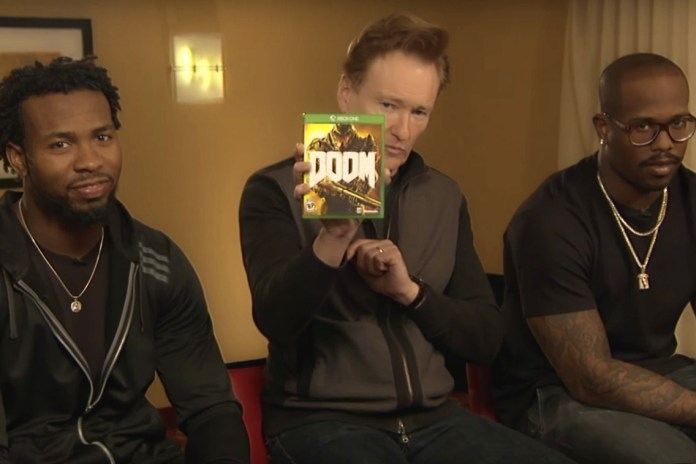 Conan O'Brien, Von Miller and Josh Norman Try out the Ultra-Violent 'DOOM'
