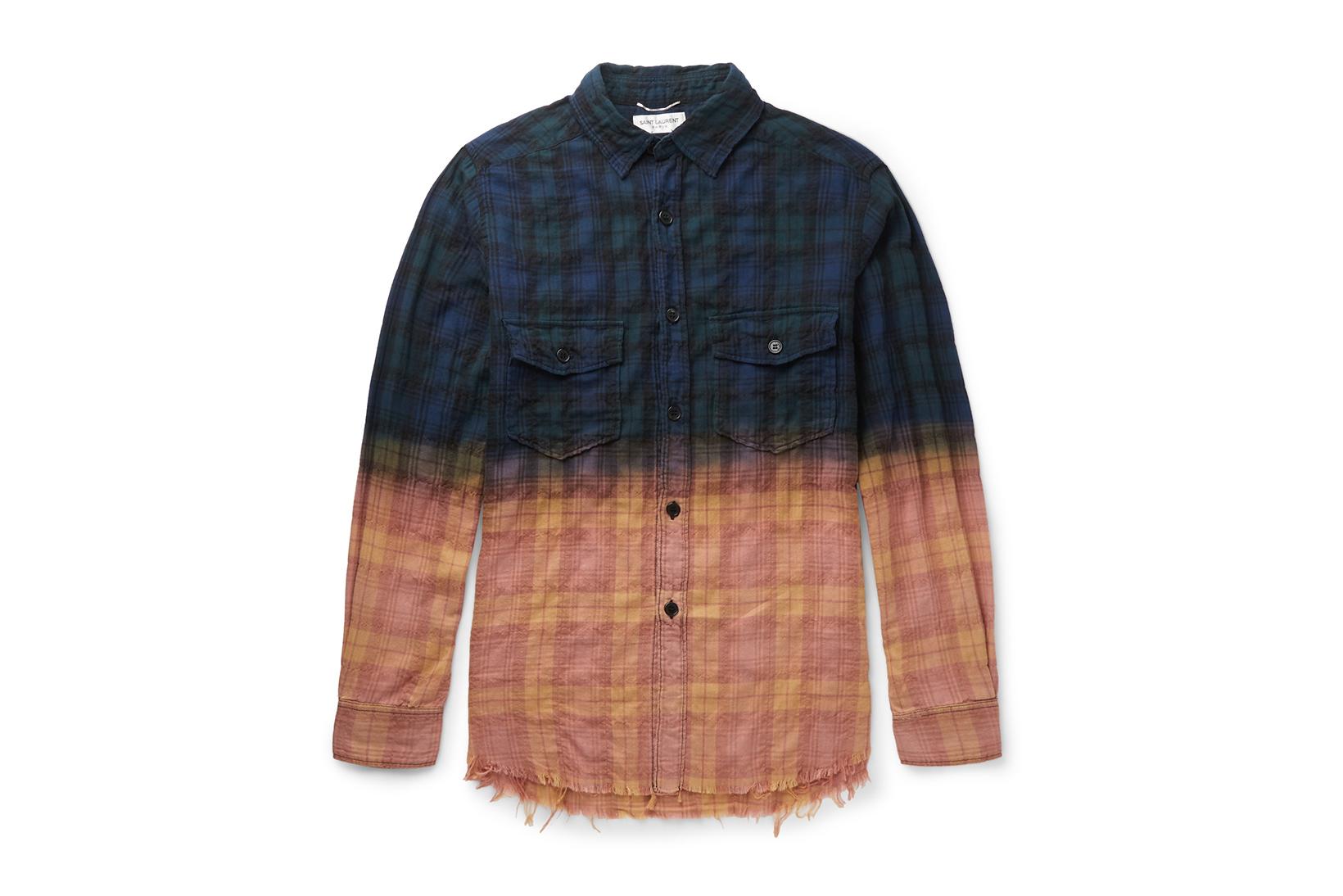Saint Laurent Distressed Two-Toned Shirt