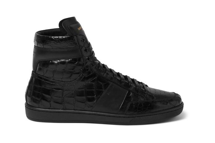 Saint Laurent Patent Croc-Effect Leather High-Tops