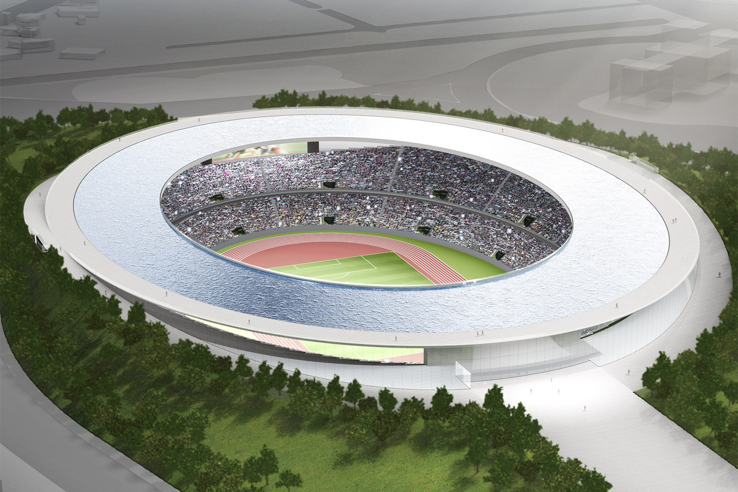 The 2020 Olympic Stadium Could Have Had a Flaming Floating Rooftop Fountain