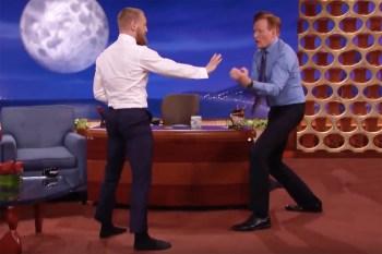 Conor McGregor Nearly Takes out Conan O'Brien With a Capoeira Spin Kick