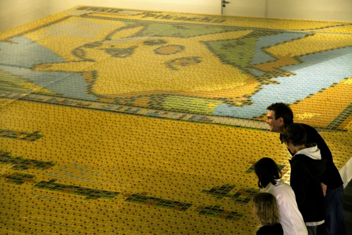Artist Creates Massive Pikachu Mosaic From 13,000 Pokémon Trading Cards