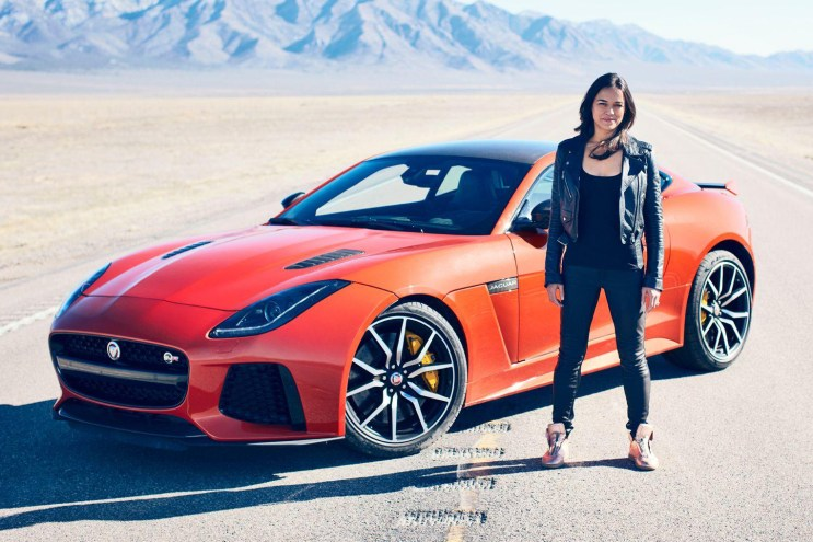Watch Michelle Rodriguez Test Drive the Jaguar F-Type SVR