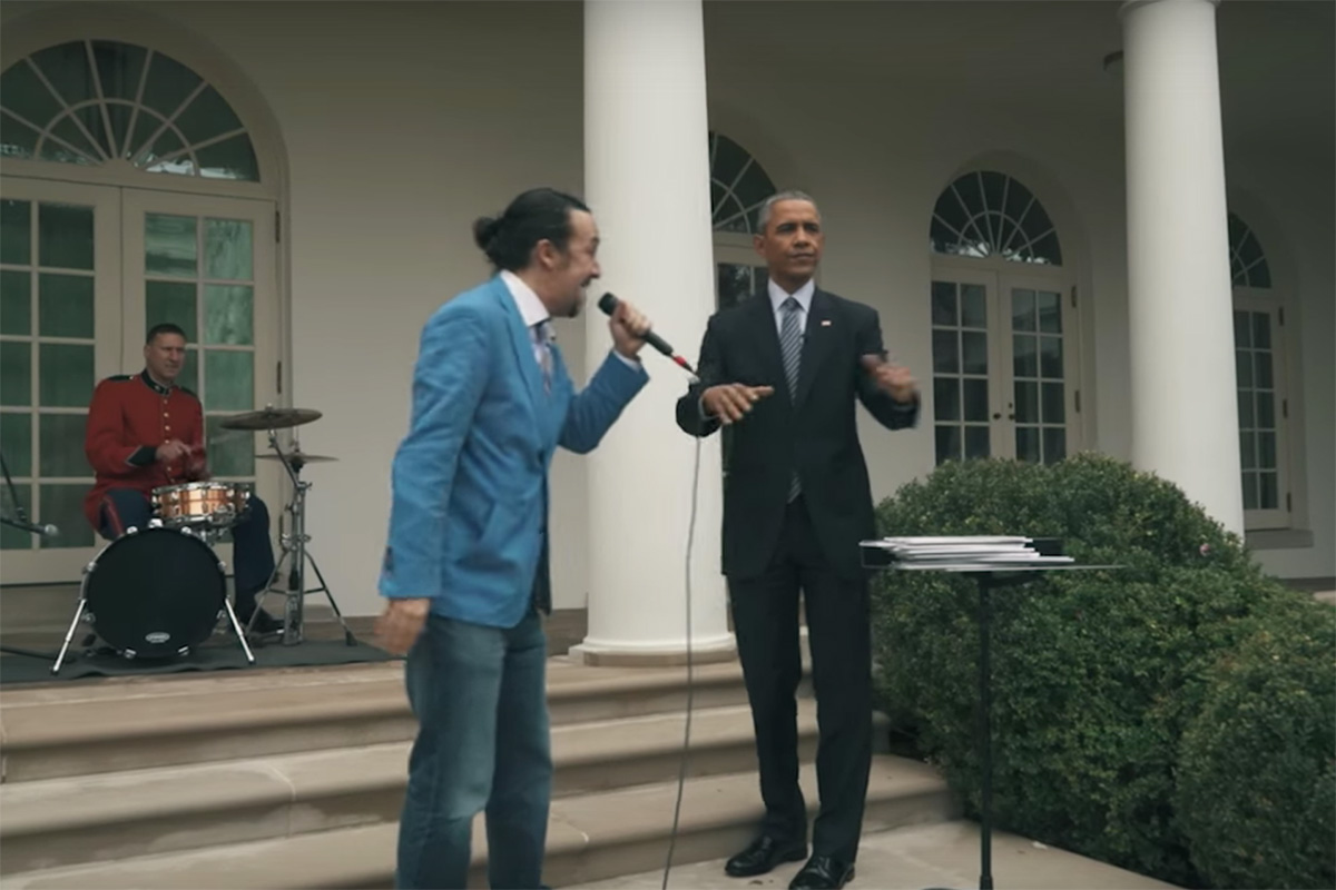 President Obama Helps Lin-Manuel Miranda Freestyle Outside the White House