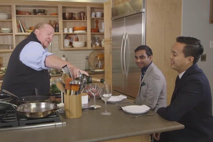 'Master of None' Creators, Aziz Ansari and Alan Yang, Join Master Chef Mario Batali for Lunch