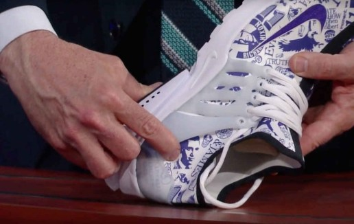 Phil Knight Presents Stephen Colbert With a Pair of Bespoke Nike Air Prestos