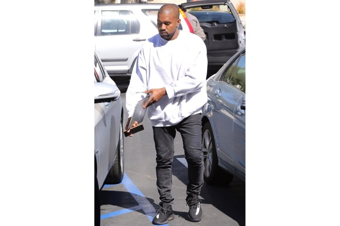 Kanye West Seen Wearing New Striped Yeezy Boost