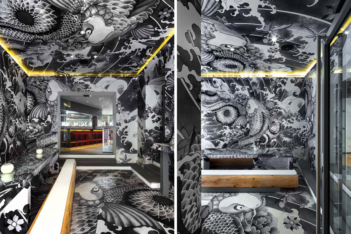 Koi japanese restaurant decorated with yakuza tattoos for Koi sushi aix en provence