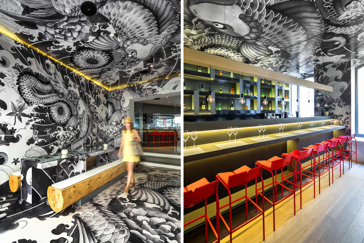 Koi japanese restaurant decorated with yakuza tattoos