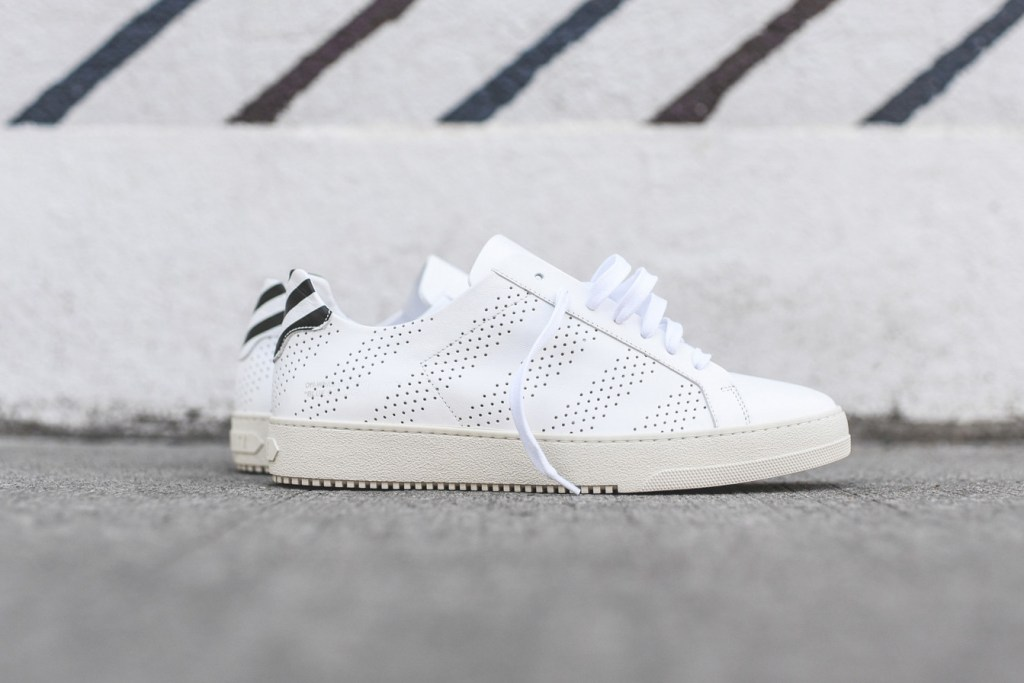 Off White White Perforated And Black Marble Sneakers