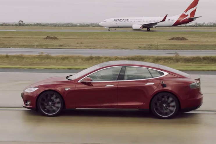 Who Will Win a Drag Race Between a Tesla Model S and a Boeing 737?