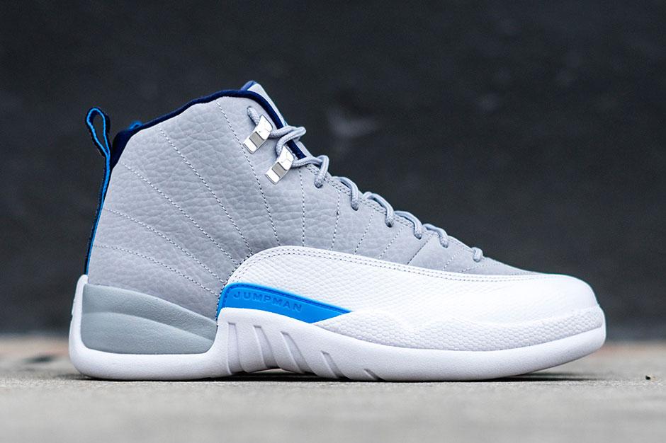 Air Jordan 12 Sneaker in Wolf Gray and University Blue ...