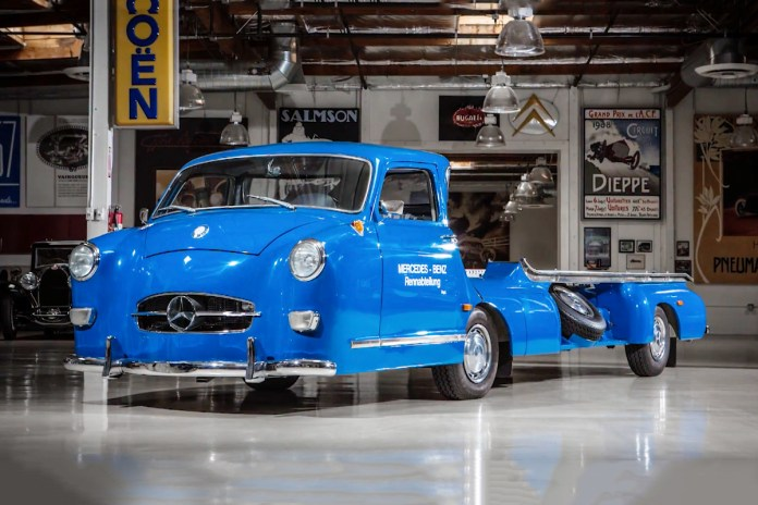 Check out Jay Leno's Old School Mercedes Race Car Transporter