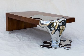 Artist Rado Kirov Manipulates Stainless Steel to Resemble Dripping Mercury in Furniture Collection