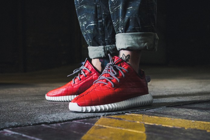 Check out These Custom Red Quilted Yeezy Boost 350s