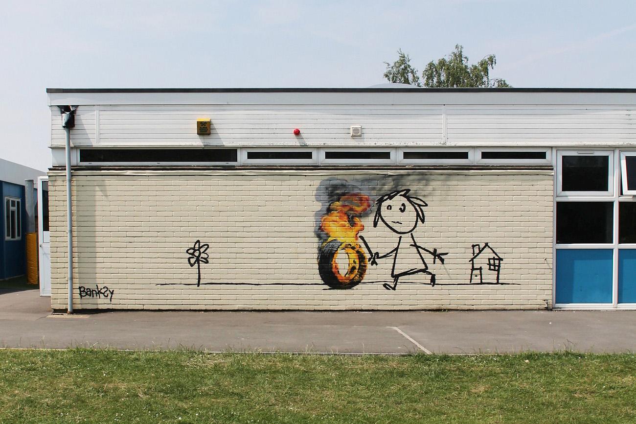 Banksy Expresses His Gratitude to a School in Bristol