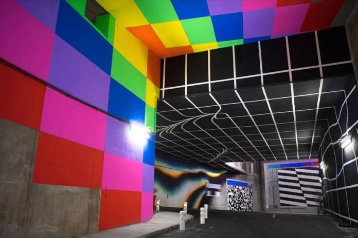 Felipe Pantone Paints Illusory Graphic Street Art in Parisian Tunnels