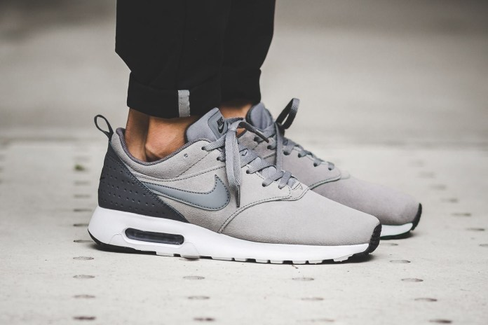 Cool Grey Swathes This Nike Air Max Tavas With a Suede Upper