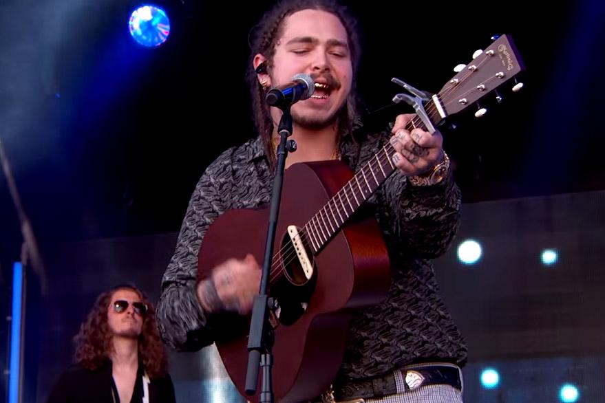 "Hip-Hop's Cowboy Post Malone Performs ""Go Flex"" on 'Jimmy Kimmel Live'"