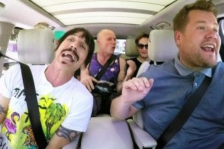 "Red Hot Chili Peppers Interrupt James Corden's ""Carpool Karaoke"" With an Impromptu Wrestling Match"
