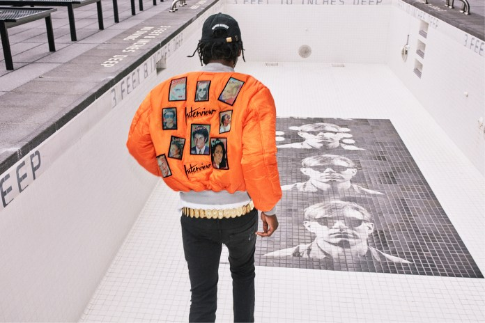 Theophilus London Models a Jacket Adorned With the Faces of Michael Jackson, Yoko Ono and Stevie Wonder