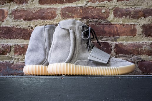 "Collective Shots of the adidas Originals Yeezy Boost 750 in ""Light Grey/Gum"""