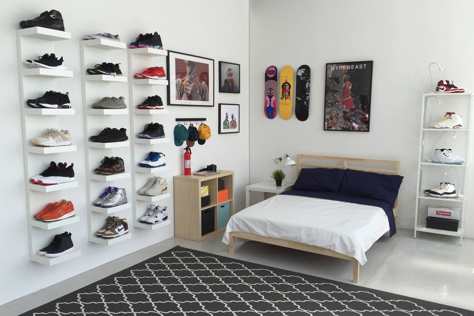 Ikea and hypebeast design the ideal sneakerhead bedroom