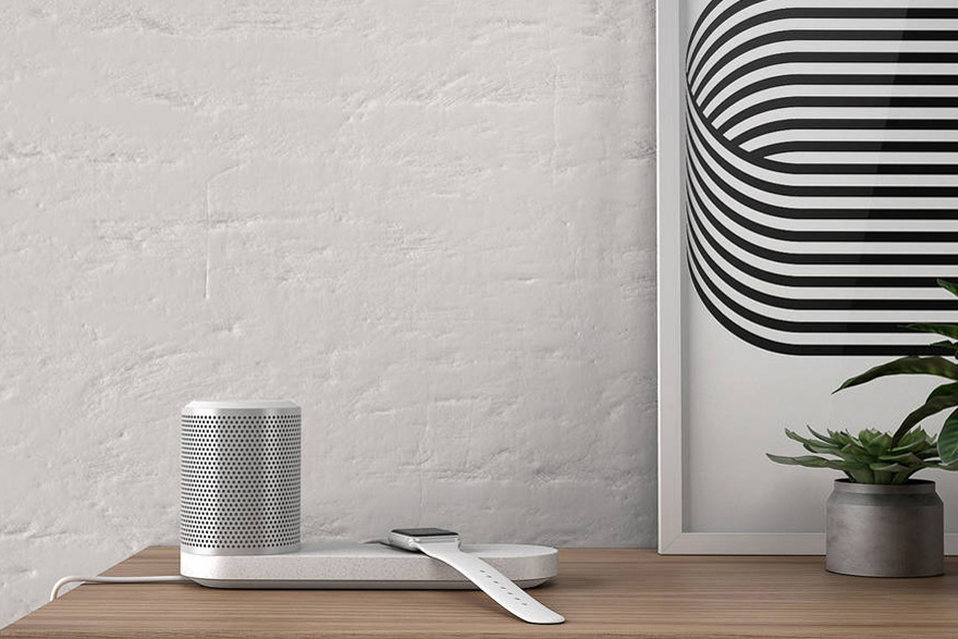 The Blond Design Bluetooth Speaker Doubles as a Wireless Charging Station