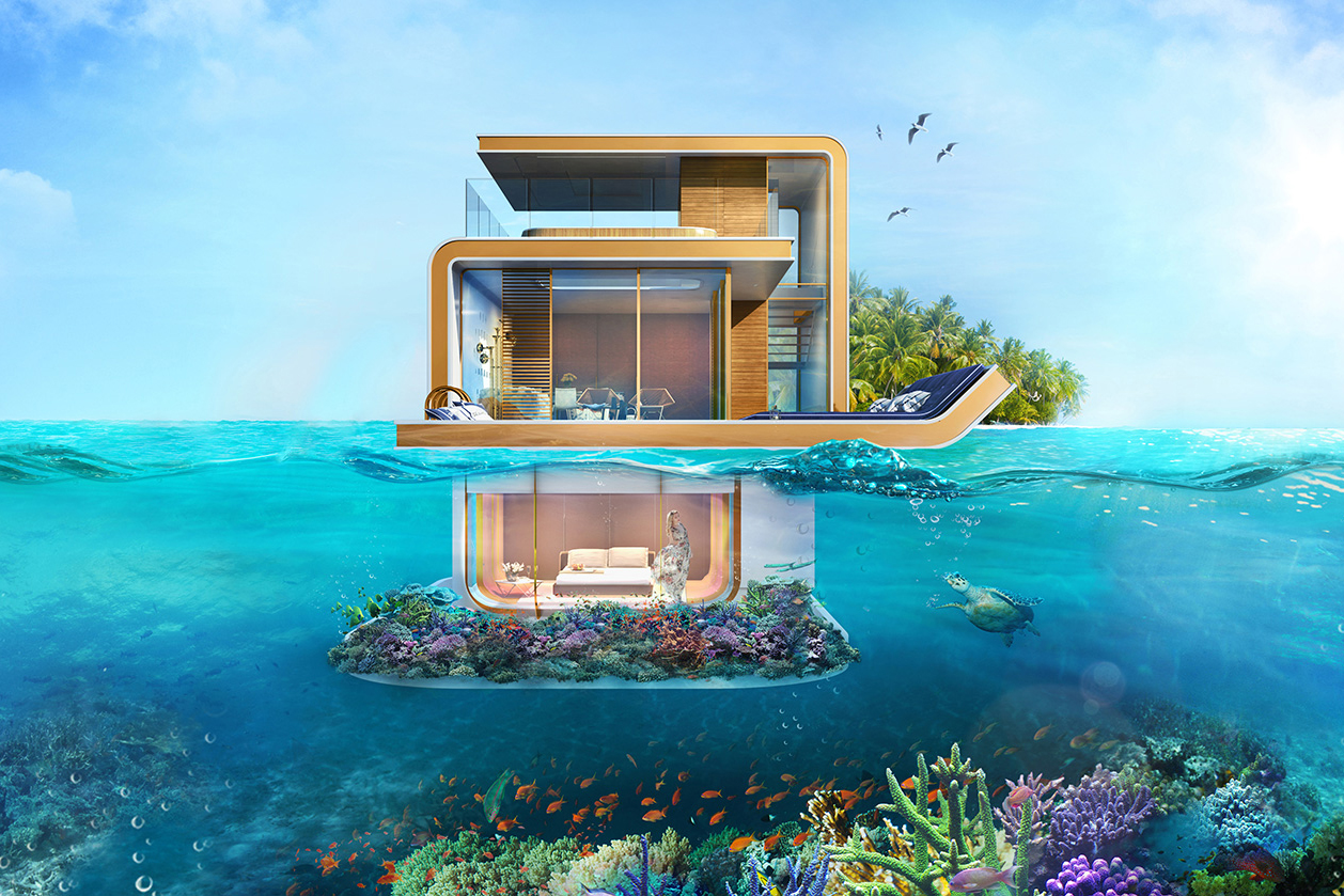 Sleep Underwater in Dubai's Luxurious Floating Seahorse Villas